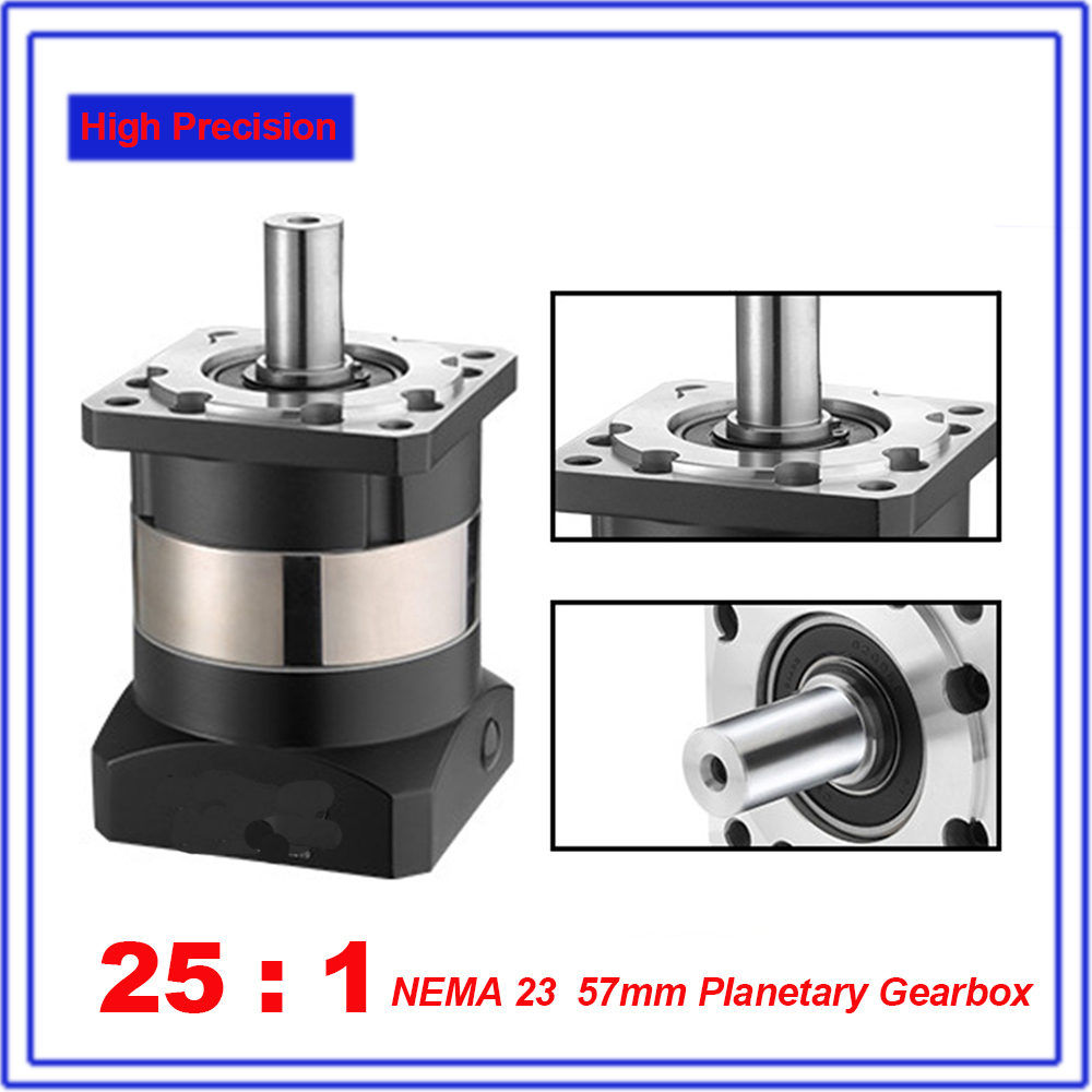 25:1 NEMA23 Planetary Reducer 12Arcmin 8mm Gearbox Reducer 57mm Flange Top Quality for Nema23 57mm Closed Loop Stepper Motor
