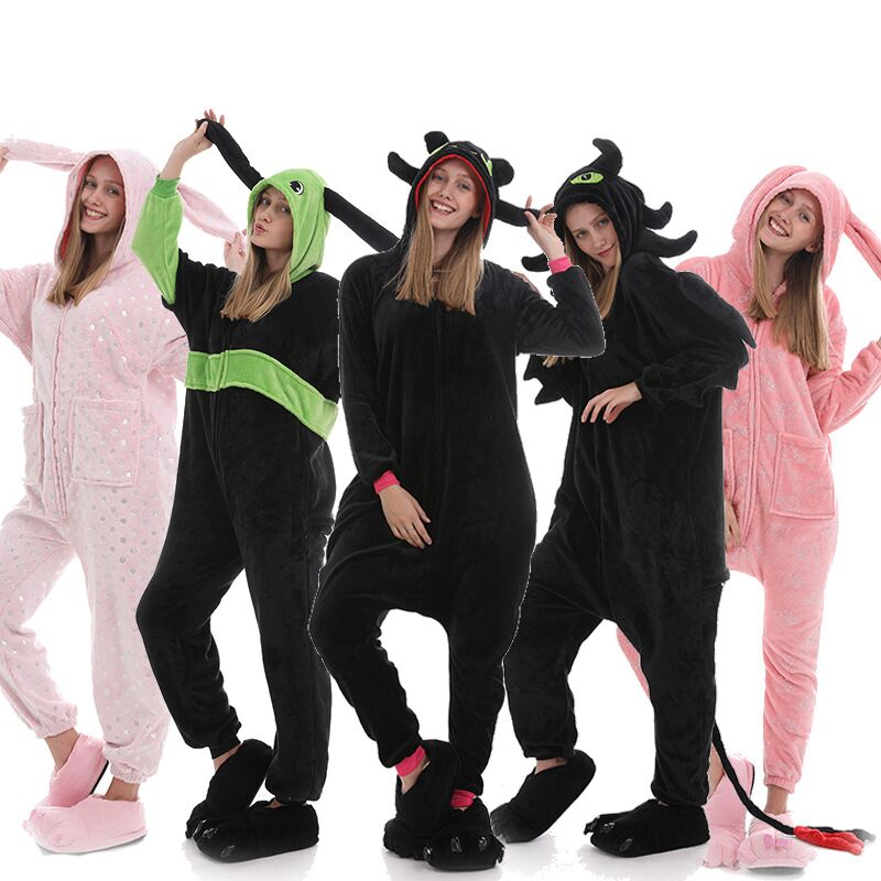 Adult Animal Sleepsuit Pink Rabbit Pajamas Costume Cosplay Onesie Fancy Costume Dragon Toothless Pyjama Kugurumi Sleepwear Onsie