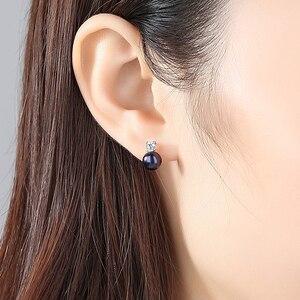 Image 2 - DOTEFFIL 925 Sterling Silve naturalna perła słodkowodna AAA Crystal stadniny kolczyki dla kobiet moda ślubna urok biżuterii