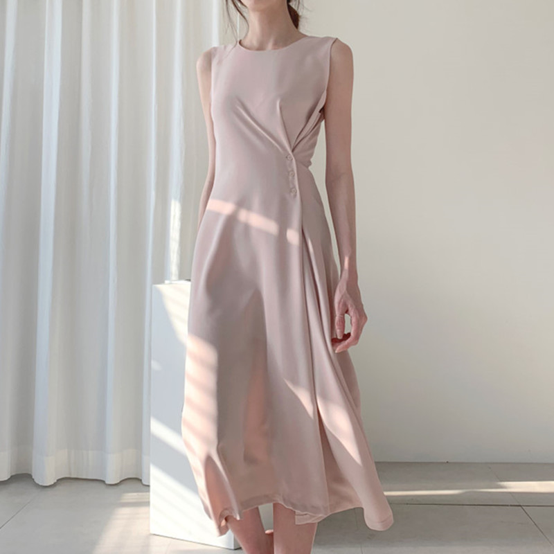 Korean Dress for Women Elegant Women Vintage Long Dress Woman High Waist Sleeveless Dresses Vestidos Verano Women Solid Dresses