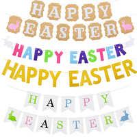1 Juego de banderines de Pascua Feliz, banderines de conejito de conejo, guirnalda de papel de colores, banderas para habitación de niños, decoración de Festival de Fiesta de Pascua para el hogar