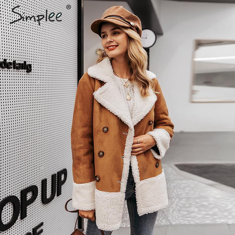 Simplee винтажные коричневый осенние пальто замшевые лоскутные изделия