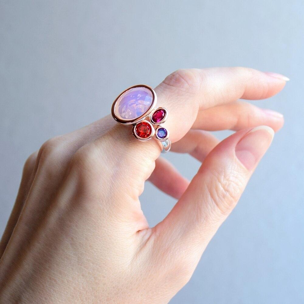 WA11703 DreamCarnival1989 Dazzling Pink Tone Zirconia Rings for Women Top Quality Radiant Cut CZ Chic Fashion Wedding Jewelry (1)