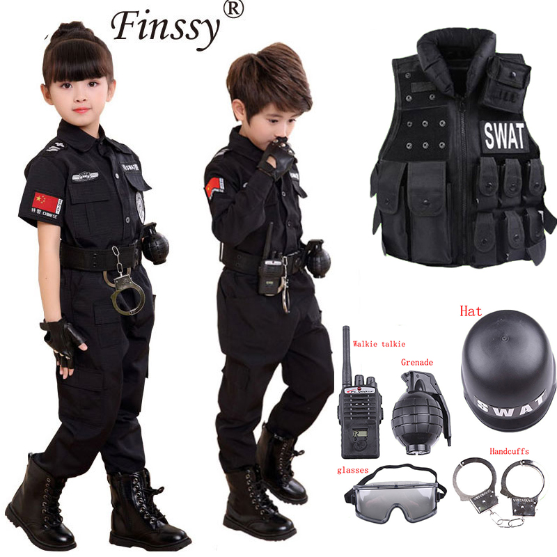 105-165cm Kids Police Cosplay Props Costume Carnival Party Fancy Clothing Set Christmas Wear Girls Boys Policewoman Uniform