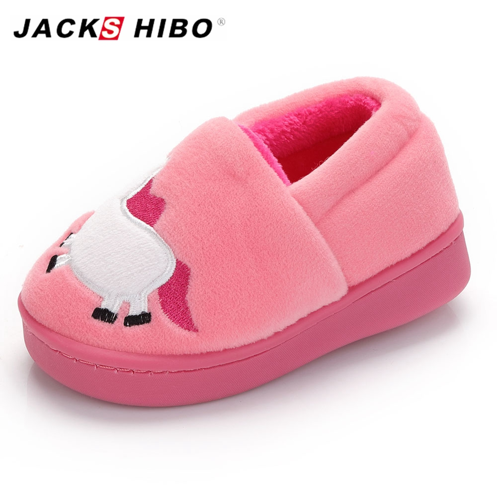 JACKSHIBO Children Slippers Winter slippers for Kids pantuflas Child Cute Animation Home Casual Shoes Fur inside Warming Shoes in Slippers from Mother Kids