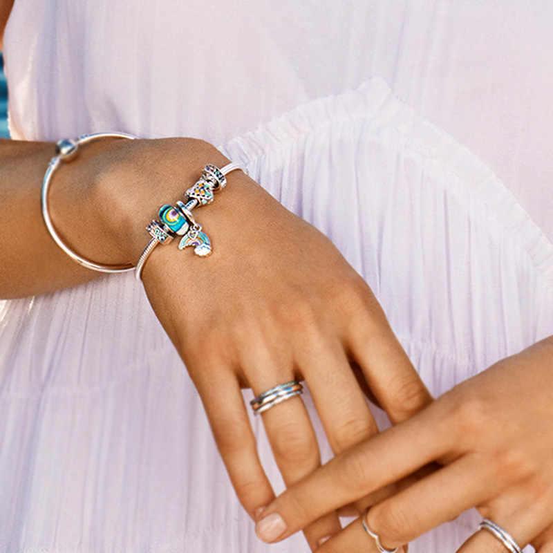 Cuentas de cristal del arco iris europeo CUTEECO se adapta a la Pulsera Original del encanto de Pandora para las mujeres lindo Color cielo cuentas accesorios de la joyería