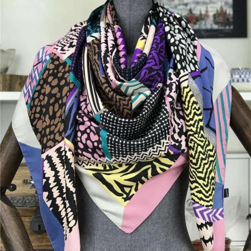 Fashion Brand Scarf Bandana 130*130cm Twill 100% Silk Scarf Hijab Women Square Scarves Kerchief For Ladies Fashion Shawl Echarpe