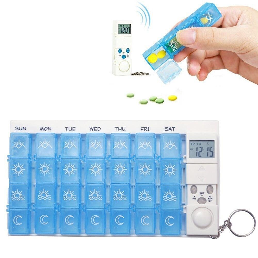 688.03руб. 31% СКИДКА|Умный диспенсер для лекарства на неделю с будильником Гладкий AM/PM 2/4 a день прозрачная коробка для таблеток с 7 дневные рабочие контейнеры для путешествий Органайзер для таблеток|Ящики и баки для хранения| |  - AliExpress