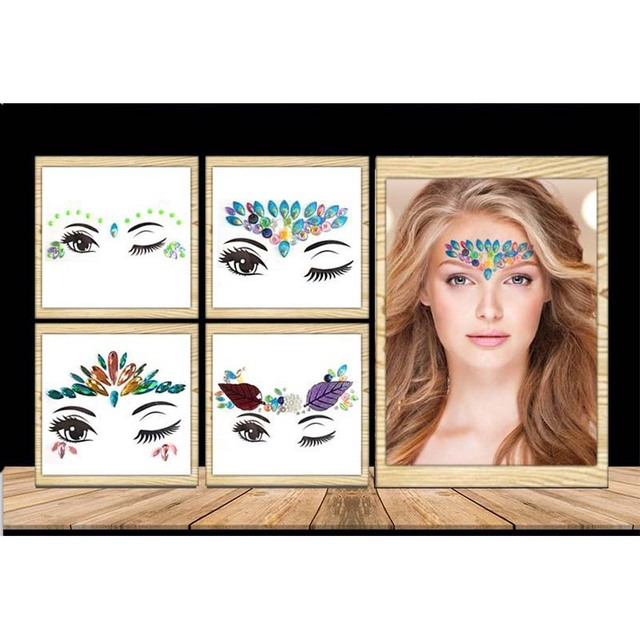 Rhinestone festival Face jewels sticker Fake Tattoo Stickers Body Glitter Tattoos Gems Flash for Music Festival Party Makeup 5