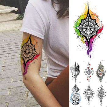 Arte corporal a prueba de agua, tatuaje temporal, pegatina, Arco Iris, brújula, Flash, tatuajes, Cráneo, rosa, Lobo, brazo, Tatuaje falso, hombres y mujeres