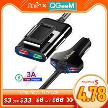 QGEEM 4 USB 자동차 충전기 아이폰에 대 한 빠른 충전 3.0 자동차 휴대용 충전기 망치 전면 다시 QC3.0 전화 충전 빠른 자동차 충전기