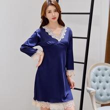 2020 Summer Lady Night Dress Lace Trim Mini Nightgown Satin Sleepwear V neck Nightdress  Casual Home Dressing Gown Negligee