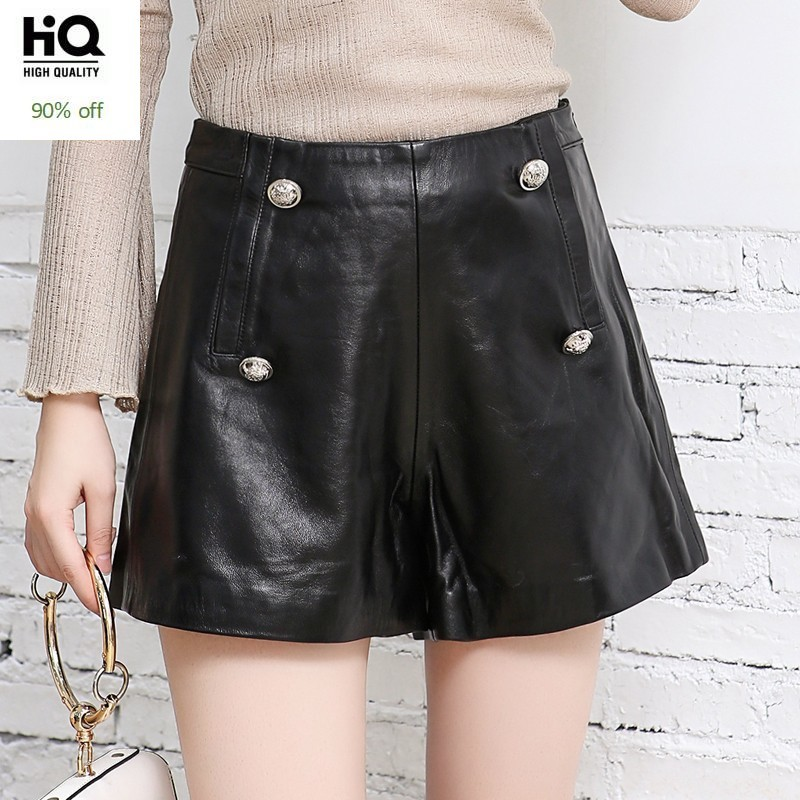 Luxury Brand 100% Real Leather Shorts Wide Leg Shorts Femme Fashion Street Black Slim Sheepskin Ladies Mini Shorts Top Quality