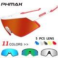 PHMAX женские и мужские ультралегкие поляризованные велосипедные солнцезащитные очки с 5 линзами  спортивные очки для велосипеда  велосипедн...