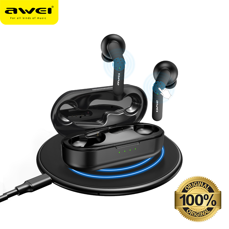 AWEI TWS Bluetooth V5.0 True Wireless Charging Earbuds With Dual Mic Noise Canceling HiFi 6D Bass Gaming Headset Touch Control