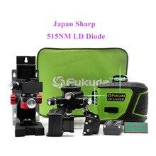 후쿠다 새로운 3D 일본 샤프 515NM 빔 레이저 레벨 MW 93T 2 3GX 레이저 레벨, 셀프 레벨링 360 수평 수직 크로스 슈퍼