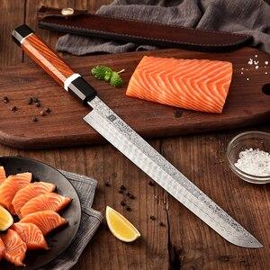 Image 5 - 2020 XINZUO 270 millimetri Giapponese Sushi Coltello 110 Strati di Damasco Inox Sakimaru Coltelli Da Cucina In Acciaio Al Carbonio con il Fodero di Cuoio
