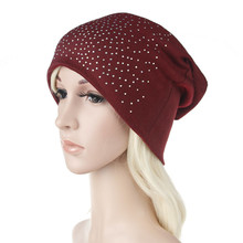 2019 Ear Warm Casual Loose Hip Hop Rivet Zircon Man Women Fall Winter Skullies Beanie Hat Cap Elastic Fashion Accessories-XMC-W6