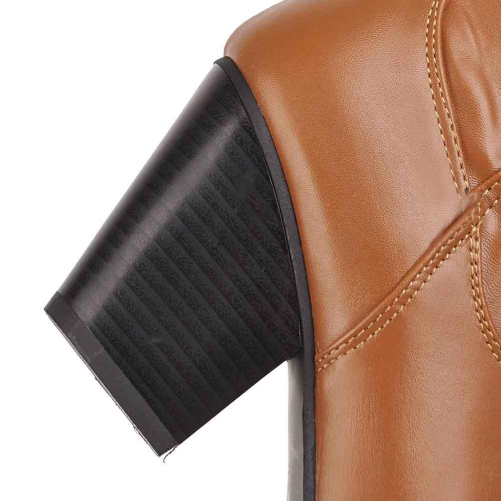Siyah Kahverengi Beyaz Kare Topuk Kovboy Çizmeleri Kadınlar için Moda Konfor Batı yarım çizmeler Kadın 2019 Kış Ayakkabı kısa çizmeler