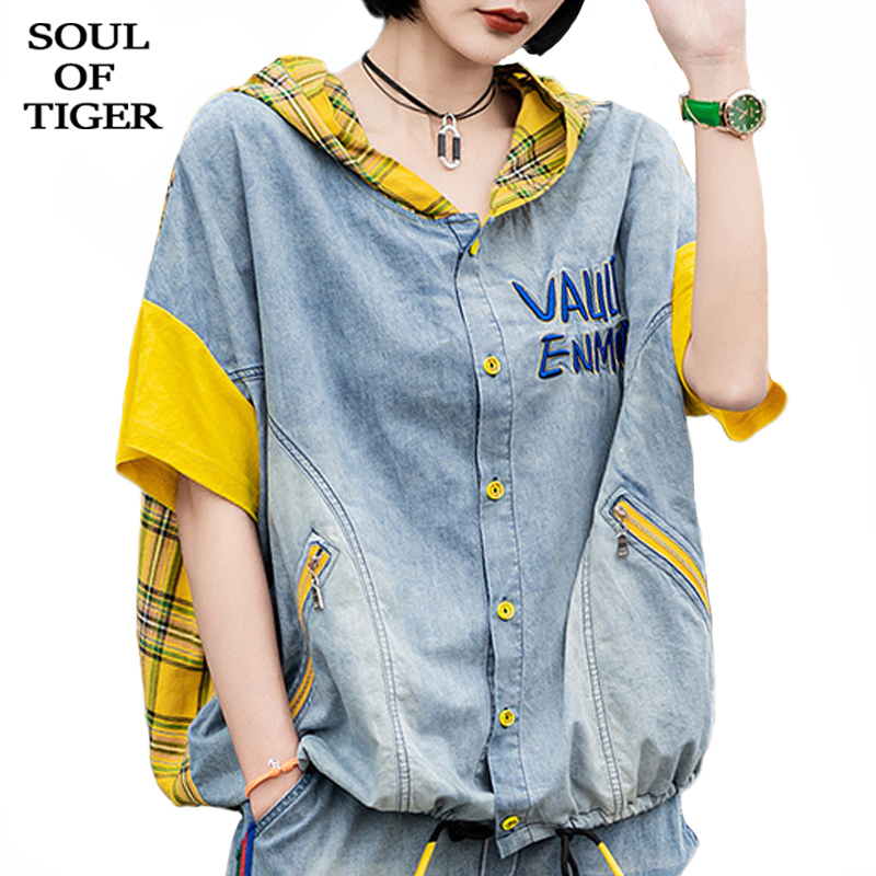 SOUL OF TIGER New 2020 Summer Korean Fashion Ladies Plaid Jackets Womens Vintage Hooded Coats Female Casual Streetwear Plus Size|Jackets| - AliExpress