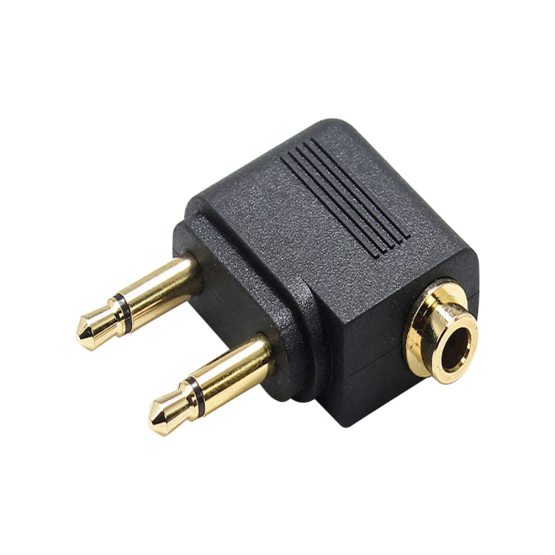 Allows You to use Your Earphones with All in-Flight Media Systems Gold Plated Airplane Flight Headphone Adapters image