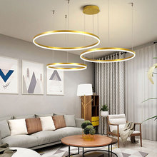Modern Led Chandelier Brushed-Rings Hanging-Lamp Ceiling-Mounted Home Lighting Gold Coffee-Color