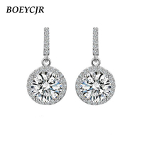 BOEYCJR 925 Silver 1ct F color Moissanite VVS Fine Jewelry Diamond Drop Earrings With national certificate for Women Gift