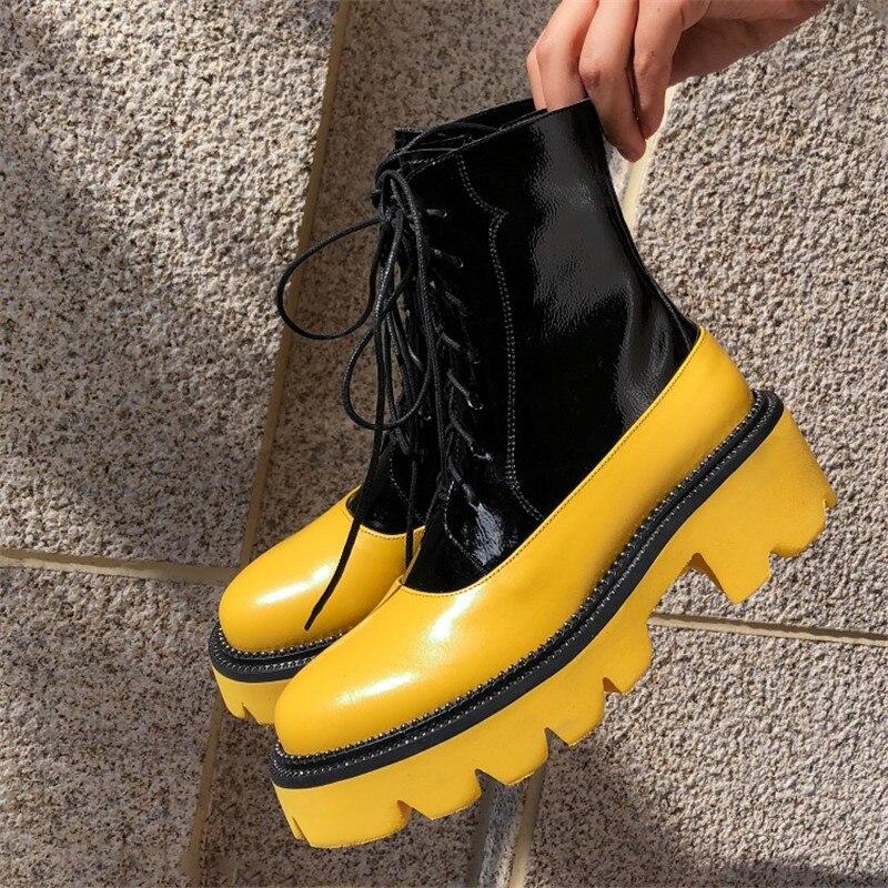 Prova perfetto botas de neve de fundo grosso 2019 rendas até martin botas de tornozelo feminino militar rendas até botas de plataforma de inverno quente
