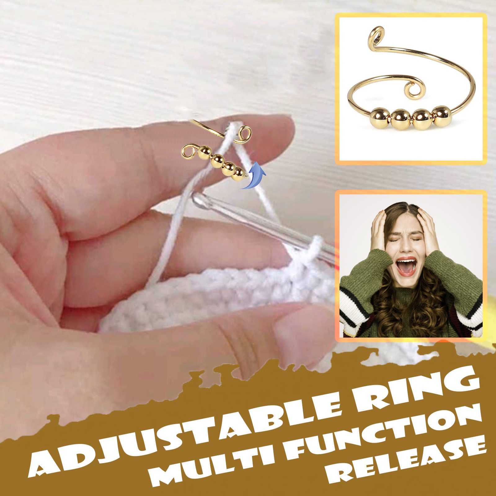 Toy Ring-Beads Fidget-Ring Freely Stress Spiral-Anxiety Rotate Reliever Fingertip Knitting img4