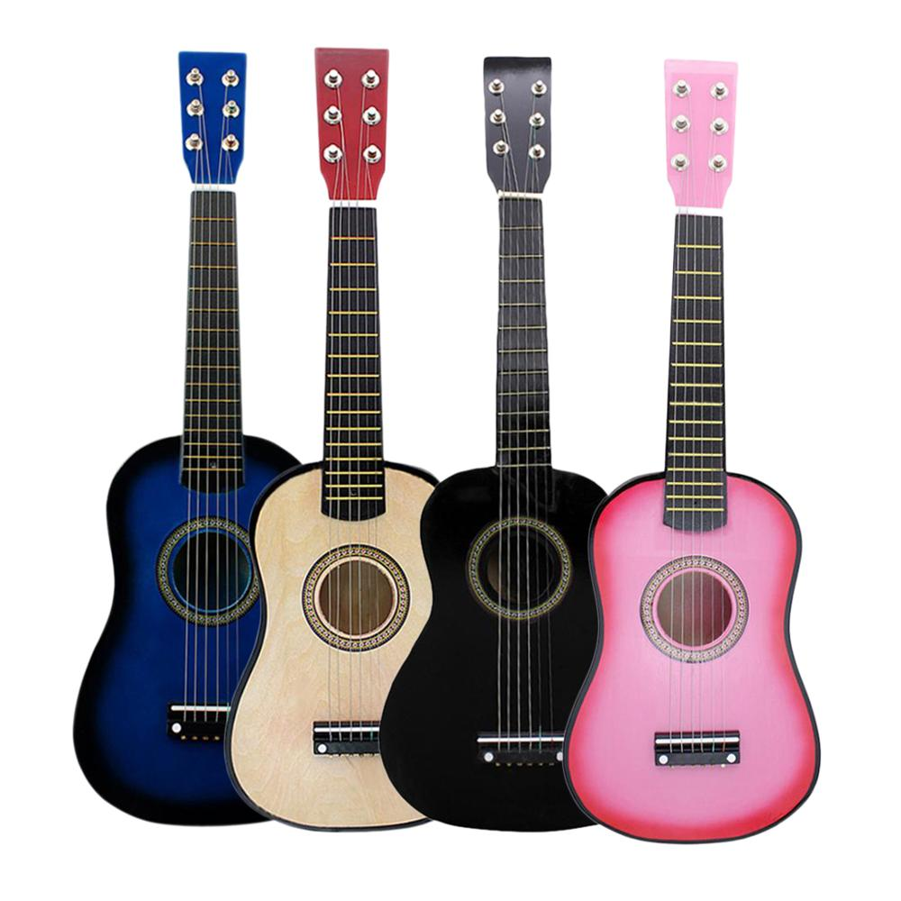 4 Colors 23 Inch Acoustic Plywood Guitar Beginner Kids 6 Strings Toy