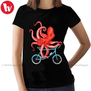Octopus T-Shirt Cycling Octopus Fitted T Shirt O Neck Short Sleeve Women tshirt Black Ladies Tee Shirt