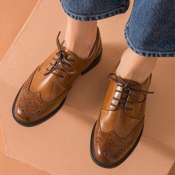 Женские туфли оксфорды из натуральной кожи, винтажные повседневные туфли черного и коричневого цвета на плоской подошве, 2020