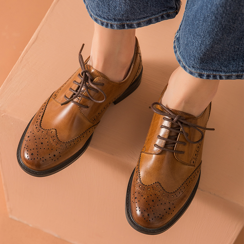Genuine Leather Women brogues Flats