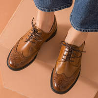 Genuine Leather Women brogues Flats Oxford Shoes Woman Sneakers lady Vintage Casual shoes for Women Footwear 2020 black brown