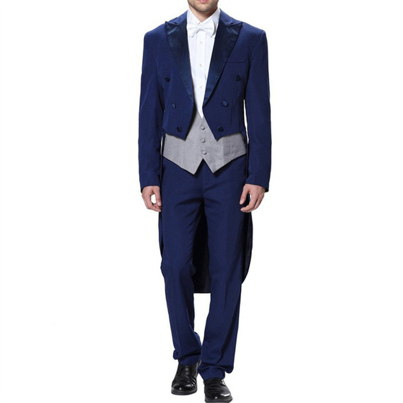 Tailor Made Long Coat Toxedos Mans Suits For Wedding Dinner Suit Best Man Wear Groom Wear Three Pieces Suit(Jacket+Pants+Vest)