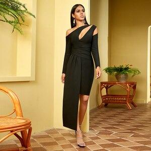 Image 4 - Adyce 2020 nouveau hiver à manches longues robe de pansement femmes Sexy évider une épaule Mini noir Club célébrité soirée robe de soirée