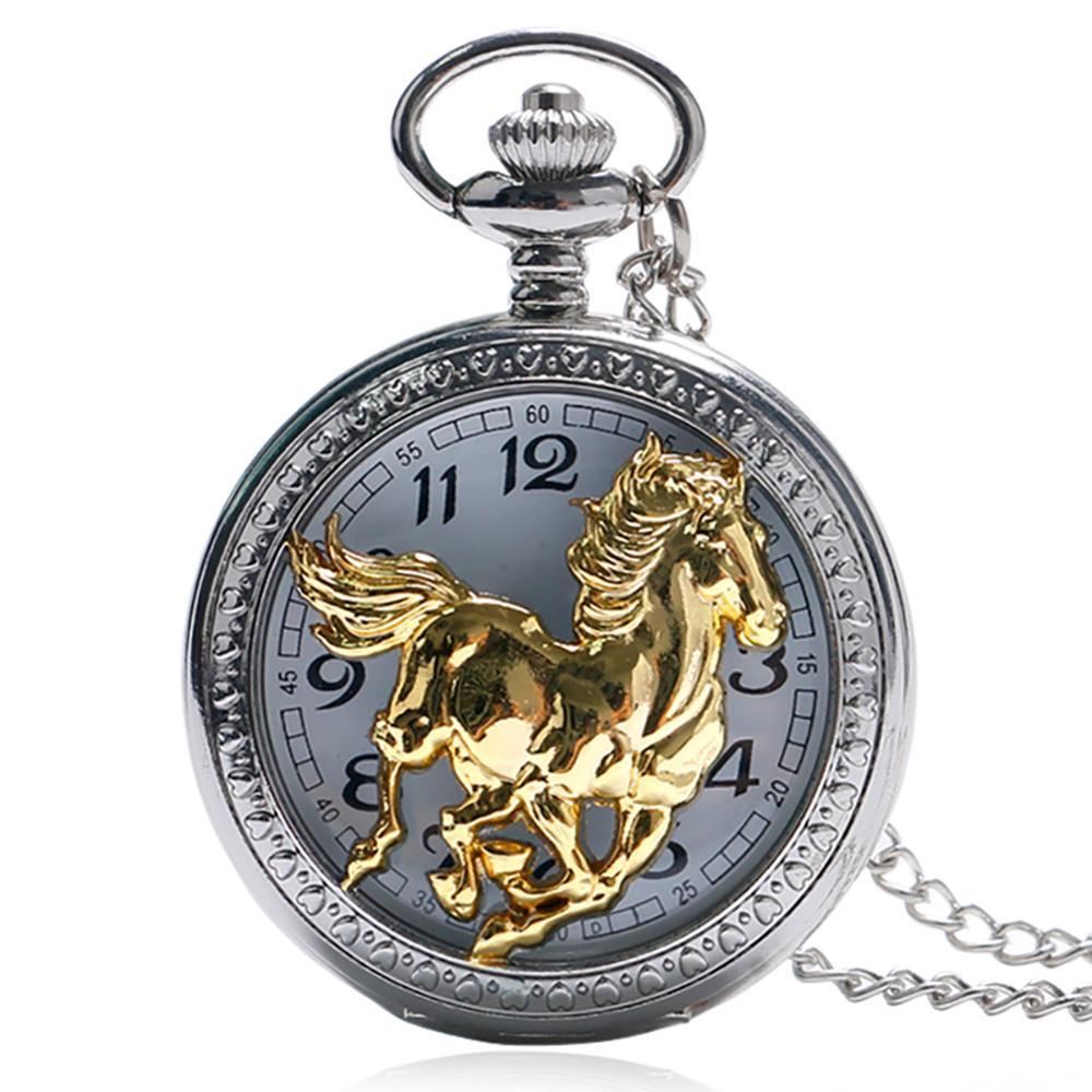 Vintage Chinese Style Cool Zodiac Running Golden Horse Pattern Pocket Watch Men Women Necklace Watche Men Women Pendant P1045