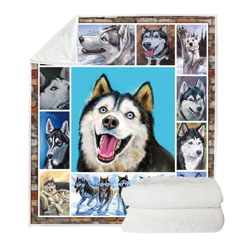Double-Layer Blanket Sofa Dog Print Travel Camping Blanket For Bed Couch Sofa Travelling Camping Throw All Season