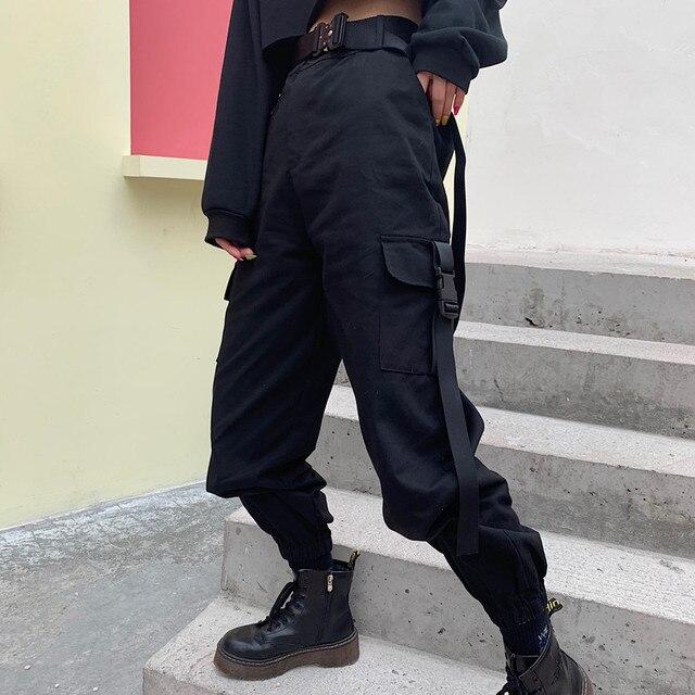 YBYR Big Pockets Cargo Pants Women Elastic High Waist Loose Streetwear Summer Pant Baggy Tactical Trouser Hip Hop Joggers Pants 4