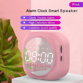 Cyfrowy lustrzany budzik Led zegar drzemka zegar obudź światło podwójny budzik bezprzewodowy głośnik Radio FM dźwięk radia tanie i dobre opinie OUTAD CN (pochodzenie) circular DIGITAL Z tworzywa sztucznego Nowoczesne z podświetleniem Alarm Clock 80Hz-20KHz ge 85dB