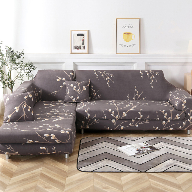 4/3/2/1 Seater L Shaped Sofa Covers Living Room Sectional Chaise Longue Spandex Armrest Slipcover Corner Sofa Covers Stretch New