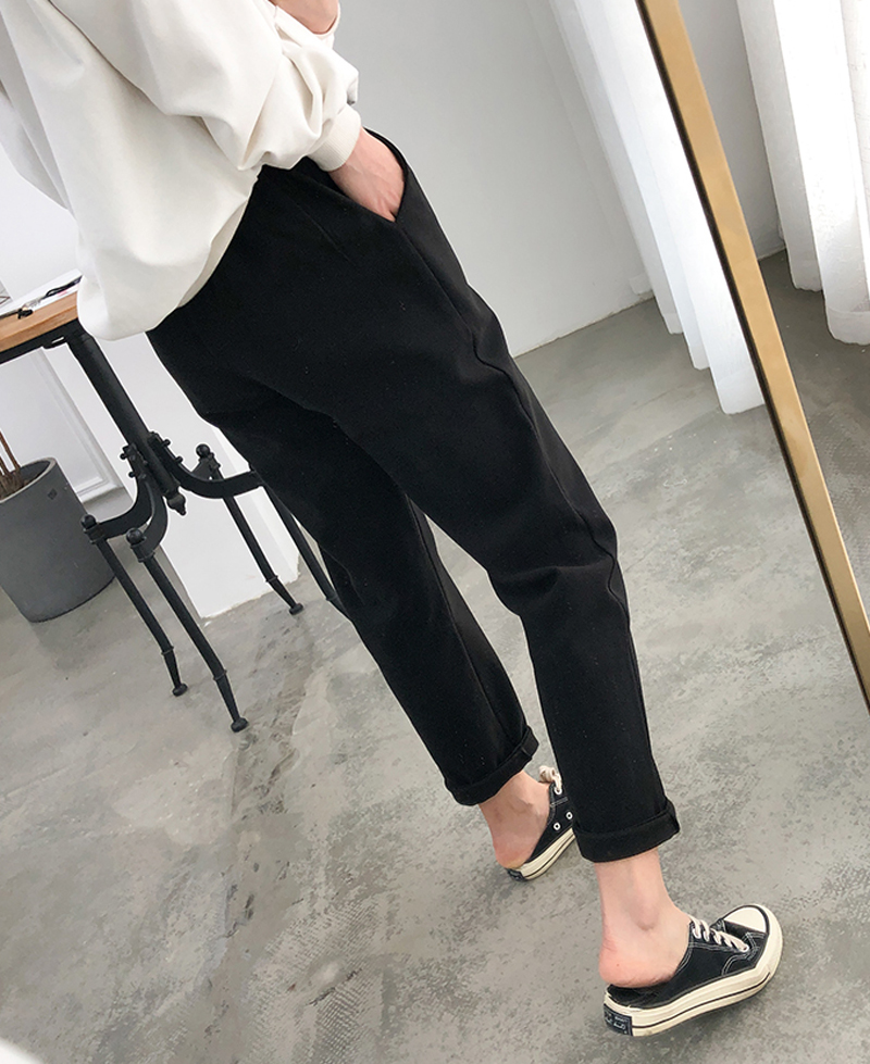 H5c7e4a006d514139a544b09ca65d3392V - Thicken Women Pencil Pants Autumn Winter Plus Size OL Style Wool Female Work Suit Pant Loose Female Trousers Capris 6648 50
