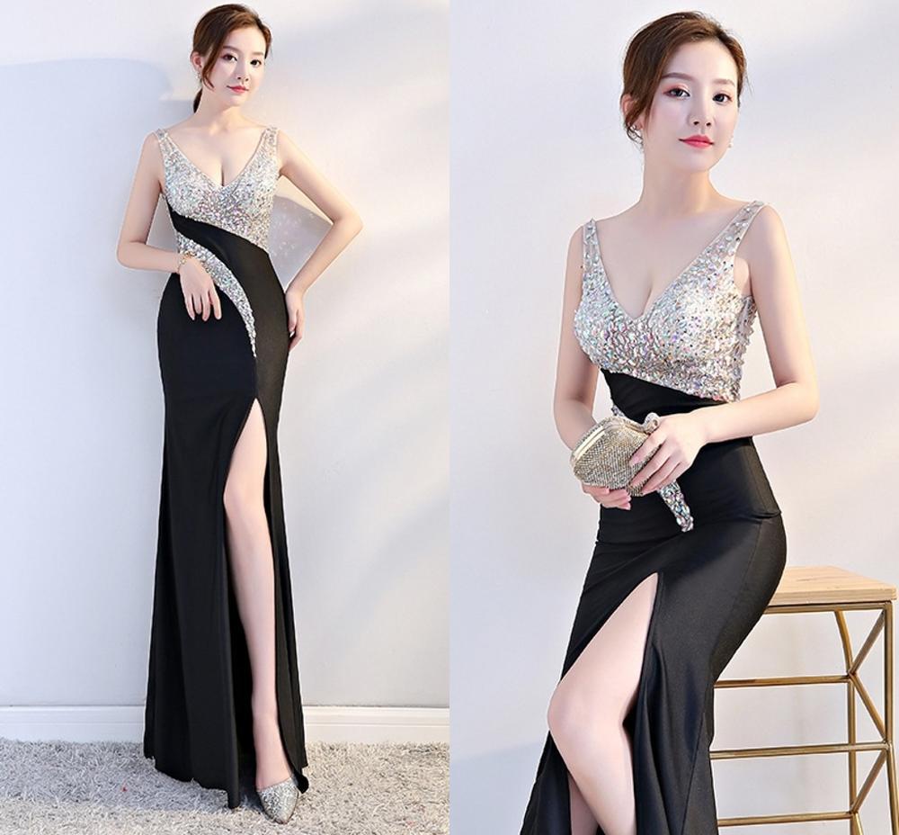 Vestidos De Baile New Beading Prom Dresses 2019 V Neck Backless Split Sleeveless Evening Party Gown Vestido De Festa