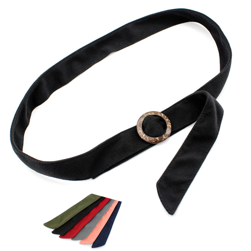 Faux Wool  Woman Coat Decoration Belt Waistband Wrap Woolen Sash Tie Fashion Wool Buckles For Overcoat Accessories Round Buckle