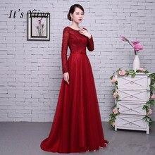 Это YiiYa красное платье с длинными рукавами, бисером, открытой спиной, тюлем, цветами, на шнуровке, Роскошные вечерние платья в пол, вечерние платья LX062