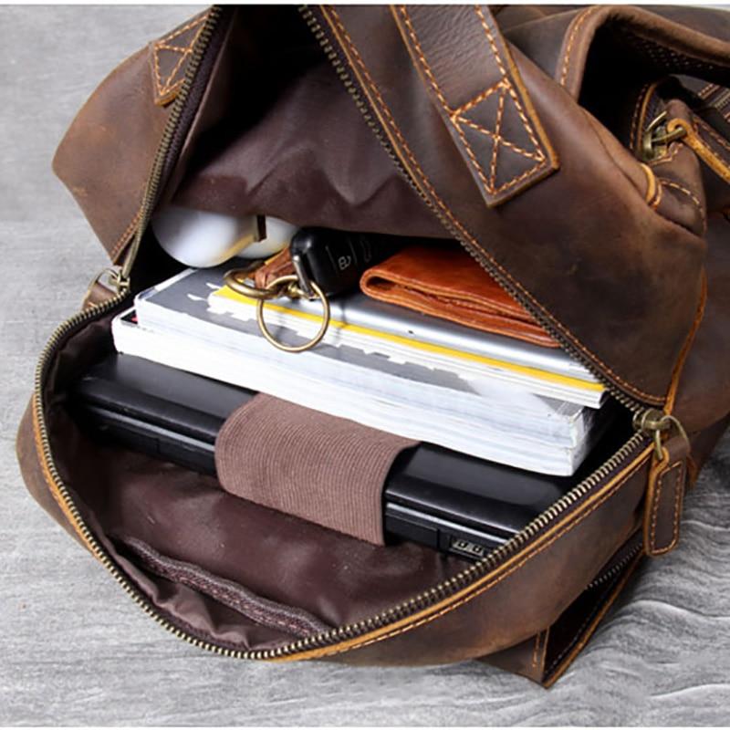 vintage saco de escola de couro real durável saco de viagem