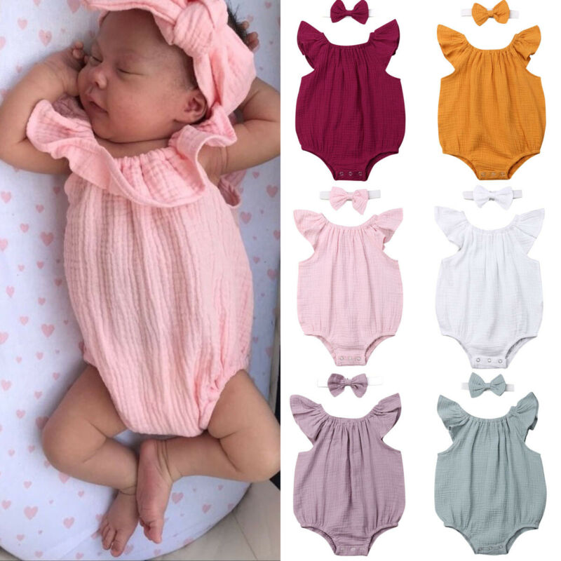 Newborn Baby Girl Boy Clothes Romper 100cm Cotton Headband Outfit Sunsuit