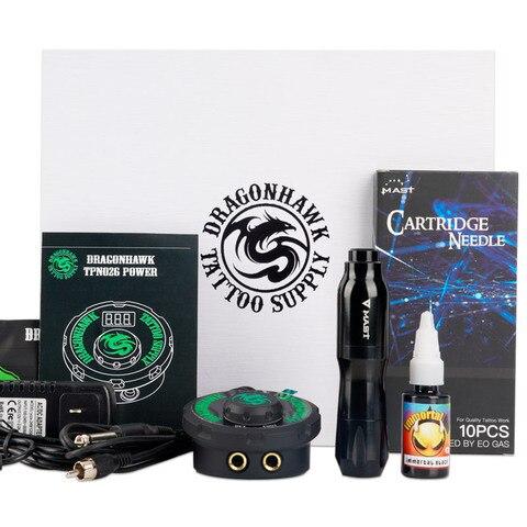 conjunto profissional da pena da tatuagem kit com lcd mini cartucho de energia agulhas da