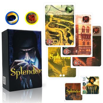 Angielski i hiszpański Splendor gra planszowa dla domu imprezy rozrywka dla dzieci dorosłych finansowania inwestycji szkolenia karty do gry gry tanie i dobre opinie CN (pochodzenie) 59*80mm diameter 25mm