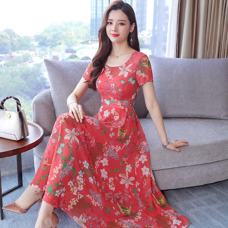 2021 new summer Korean chiffon dress women's Casual Short Sleeve temperament large yellow red flower round neck dress 3